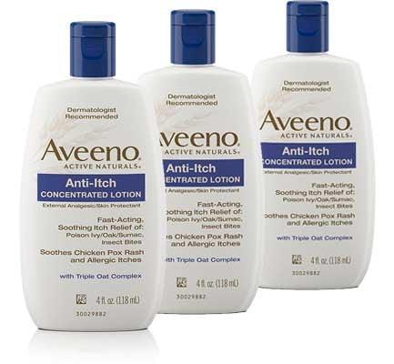 Aveeno anti-itch lotion for flea bites treatment: photo