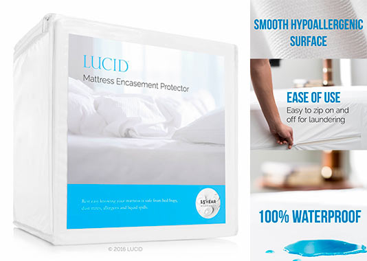 lucid encasement mattress protector guards against bed bugs 100 waterproof 15 year warranty queenwhite