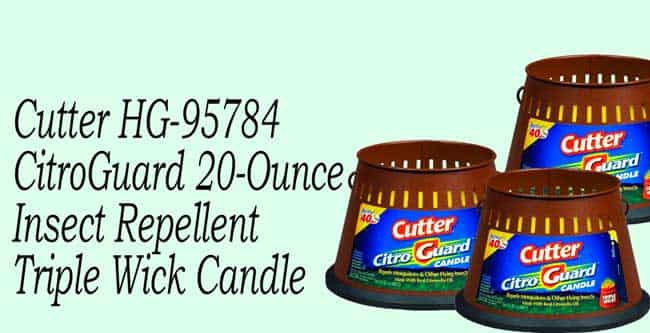 Cutter HG-95784 CitroGuard 20-Ounce Insect Repellent Triple Wick Candle