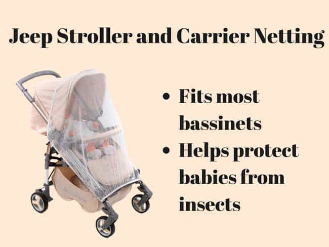 Jeep Stroller and Carrier Netting repels mosquitoes