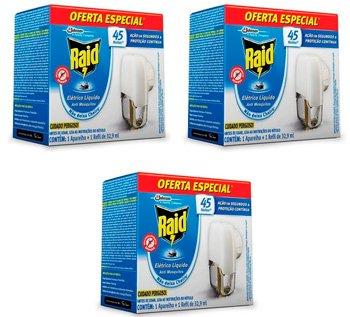 03 Repelente Raid Eletrico Liquido Mata Mosquitos: foto